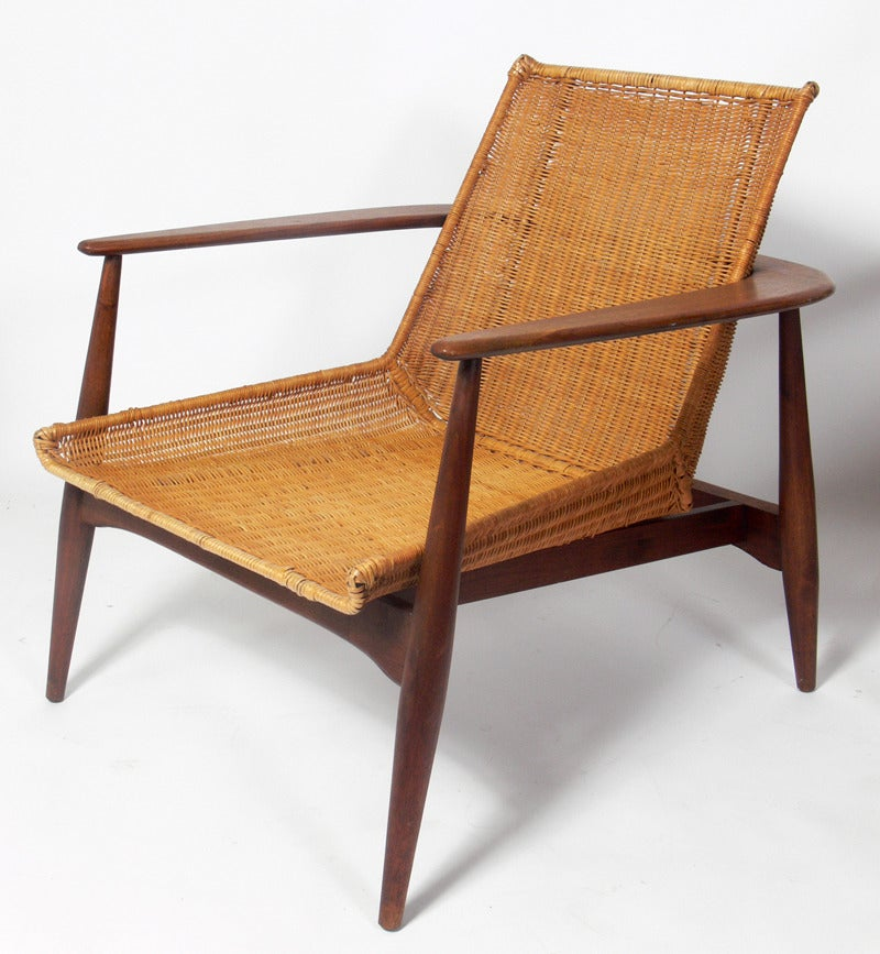 Pair of danish modern lounge chairs by lawrence peabody at Danish modern furniture
