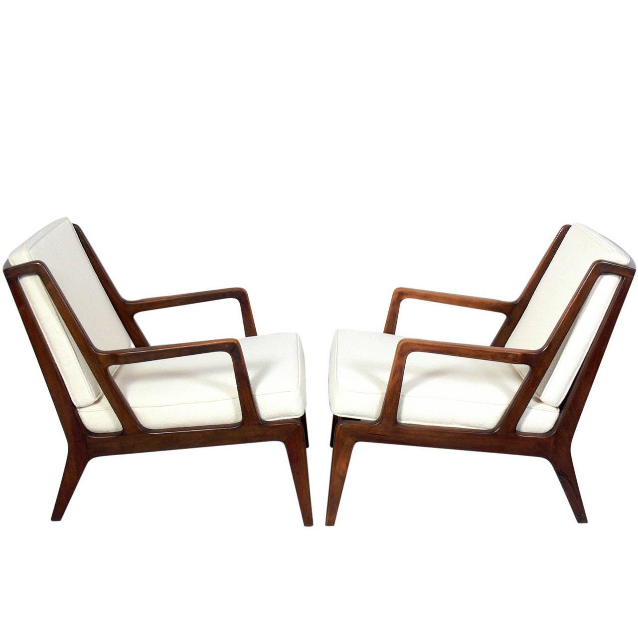 Pair of angular danish modern walnut lounge chairs at 1stdibs for Danish modern chairs