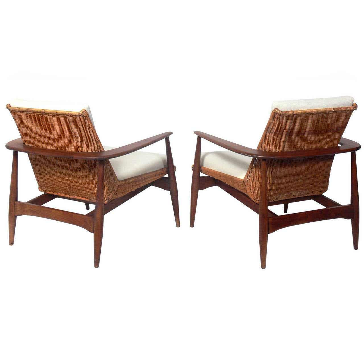 pair of danish modern lounge chairs by lawrence peabody at. Black Bedroom Furniture Sets. Home Design Ideas