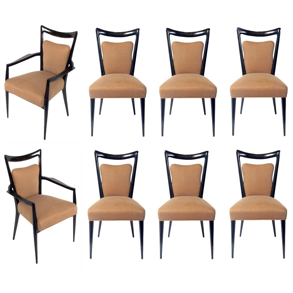 Italian modern dining chairs designed by melchiorre bega for Italian dining room sets