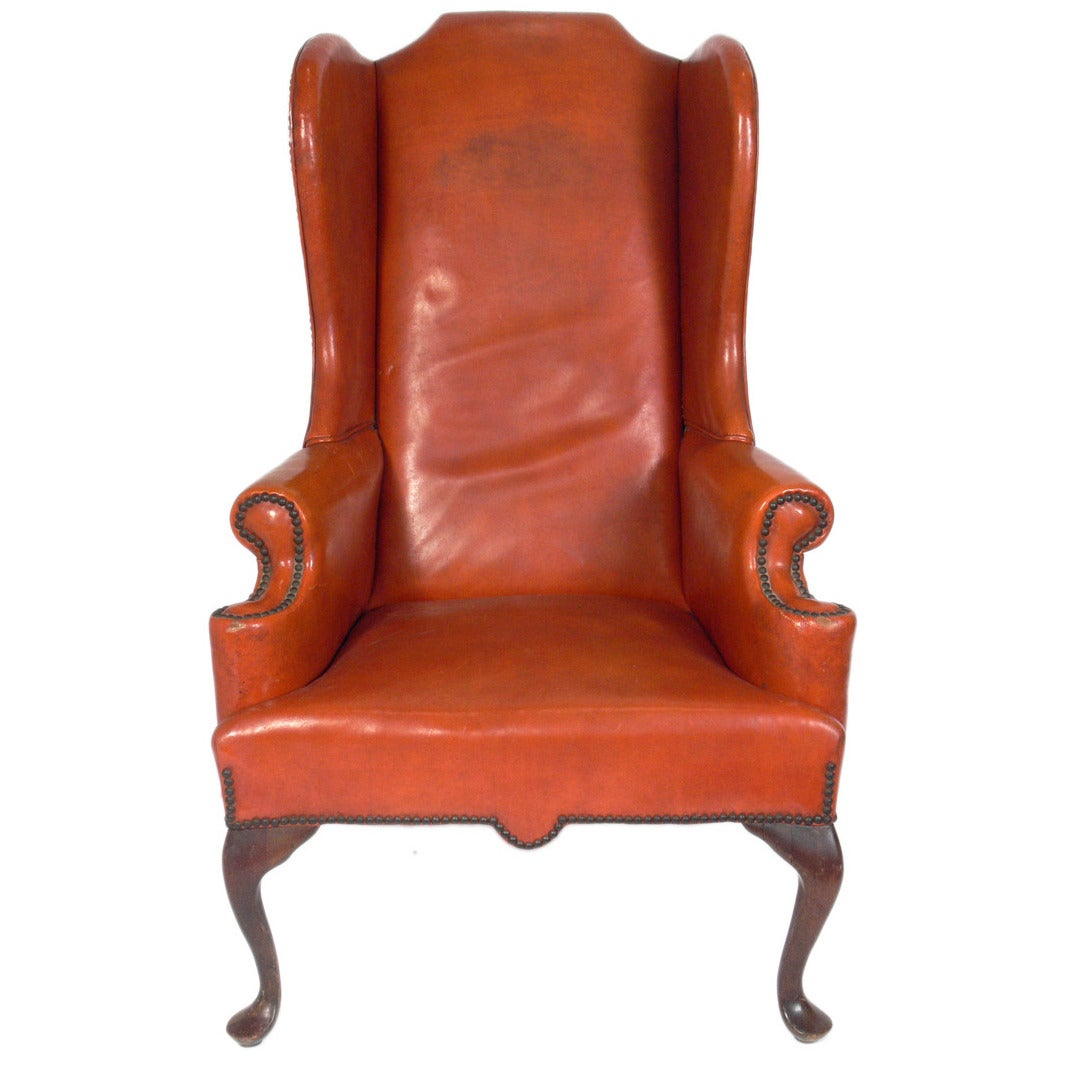 Cognac leather wingback chair at 1stdibs for Furniture chairs
