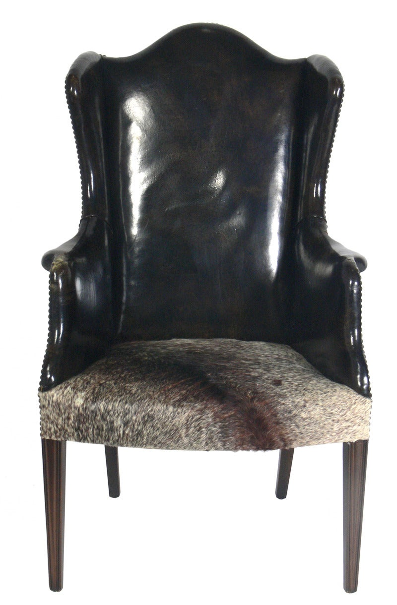 Antique Leather And Cowhide Wingback Armchair For Sale At