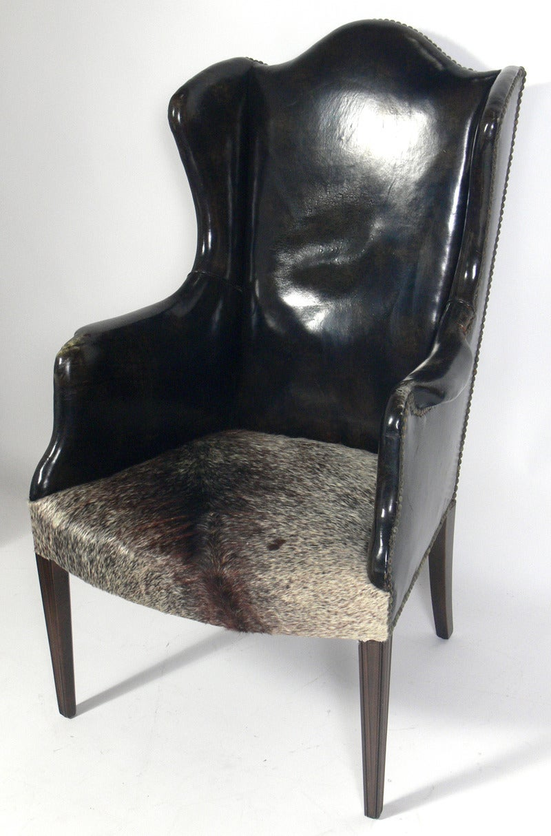 Antique Leather and Cowhide Wingback Armchair 3 - Antique Leather And Cowhide Wingback Armchair For Sale At 1stdibs