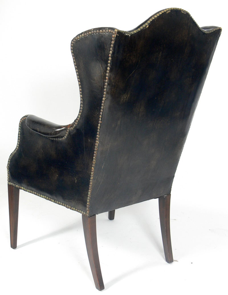 antique leather and cowhide wingback armchair for sale at. Black Bedroom Furniture Sets. Home Design Ideas