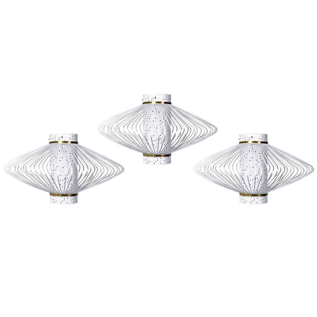 Three Modernist Chandeliers or Light Fixtures