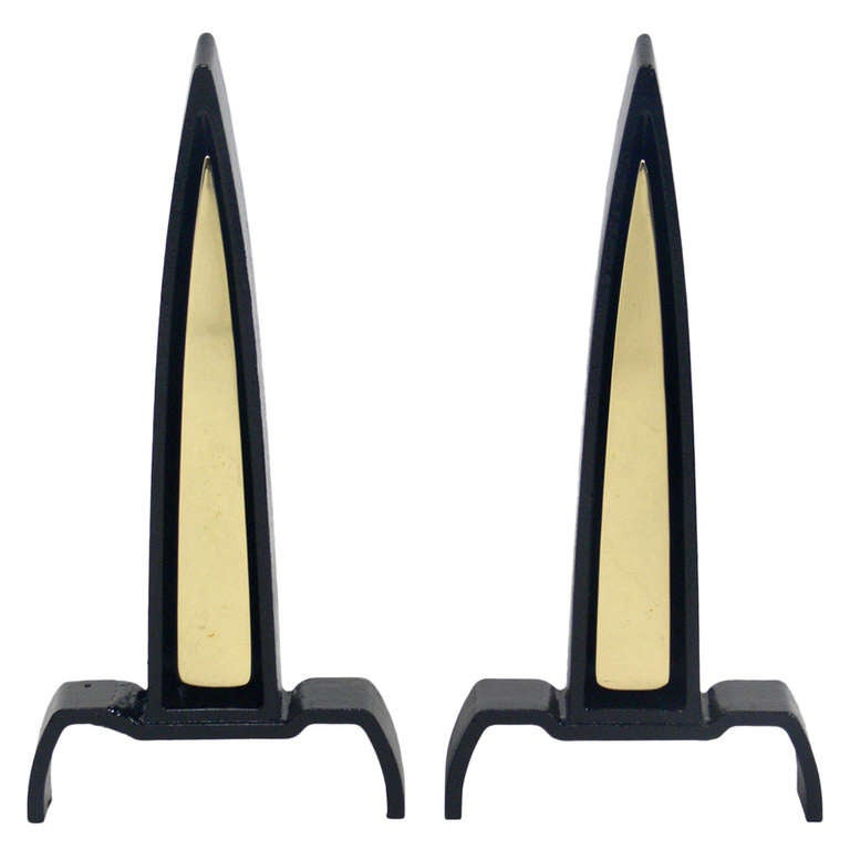 Black and Brass Spire Andirons Designed by Donald Deskey