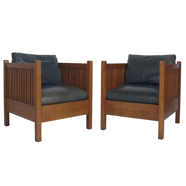 Pair of Stickley Mission Oak Cube Chairs at 1stdibs