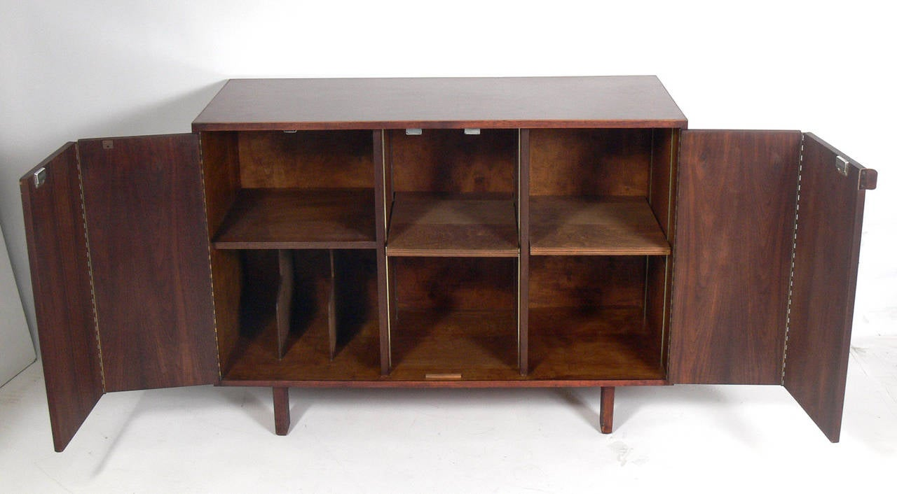 American Custom Mid Century Walnut Credenza by Creative Woodwork Co., NYC