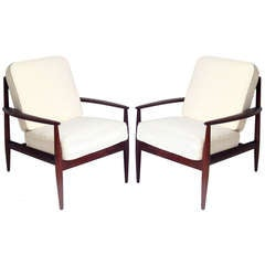 Pair of Danish Modern Teak Lounge Chairs by Grete Jalk