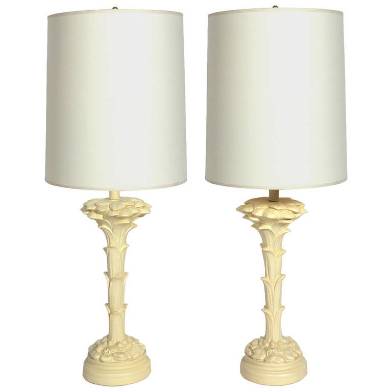 Pair of Plaster Floriform Lamps in the Manner of Serge Roche