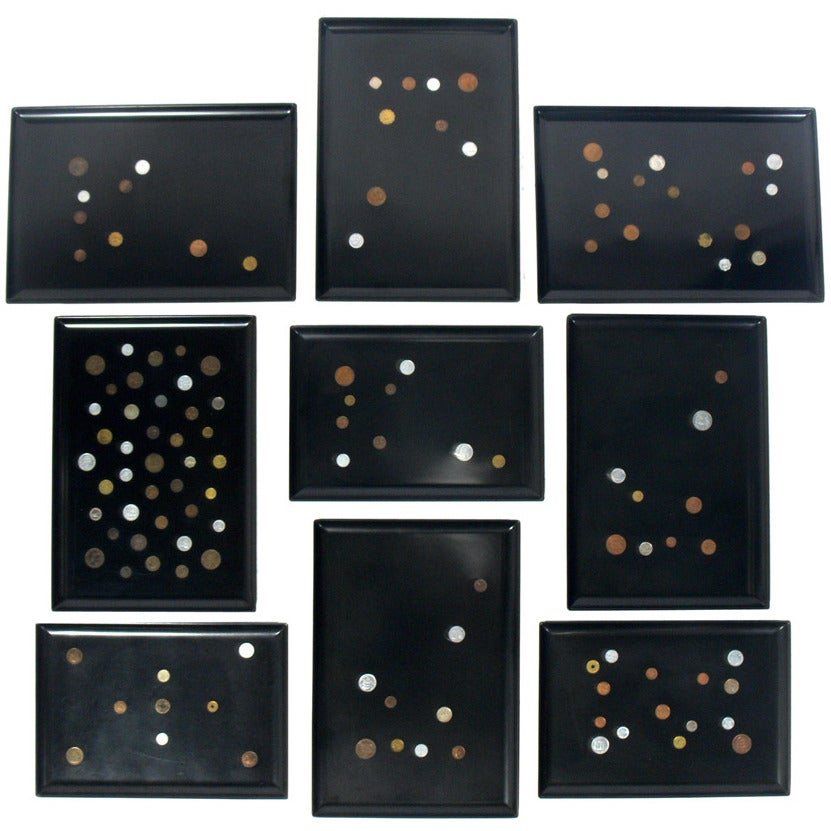Group of Coin Inlaid Trays by Couroc