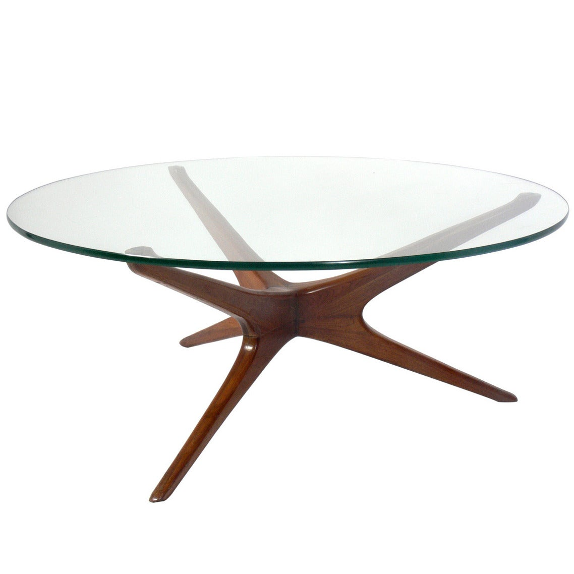 Vladimir Kagan Trisymmetric Walnut Coffee Table At 1stdibs