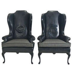 Pair of 1940's Black Leather Wingback Chairs