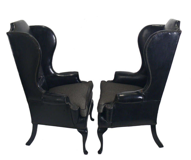 Pair of 1940 s Black Leather Wingback Chairs at 1stdibs