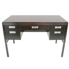 Deep Brown Lacquered Desk with Nickel Plated Hardware