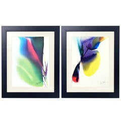 Pair of Abstract Color Lithographs by Paul Jenkins