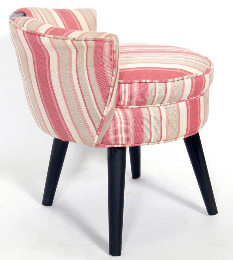 Paul frankl v back swiveling vanity stool at 1stdibs - Vanity stool with back ...