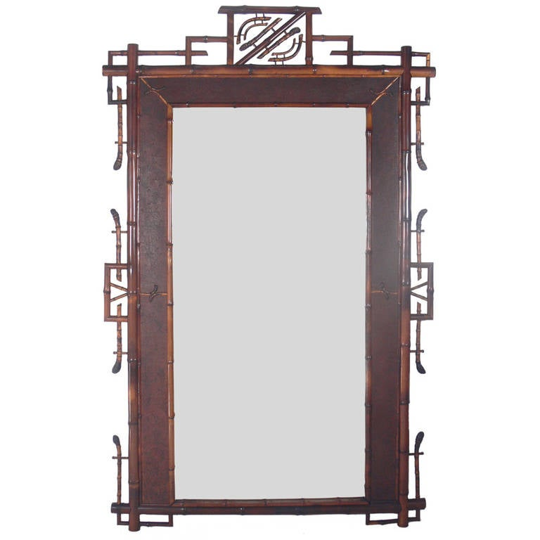 Monumental Scale Asian Form Bamboo Mirror