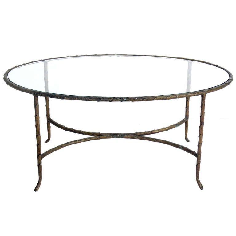 Bronze Coffee Table Nz: Oval Bronze Finish Coffee Table In The Manner Of Maison