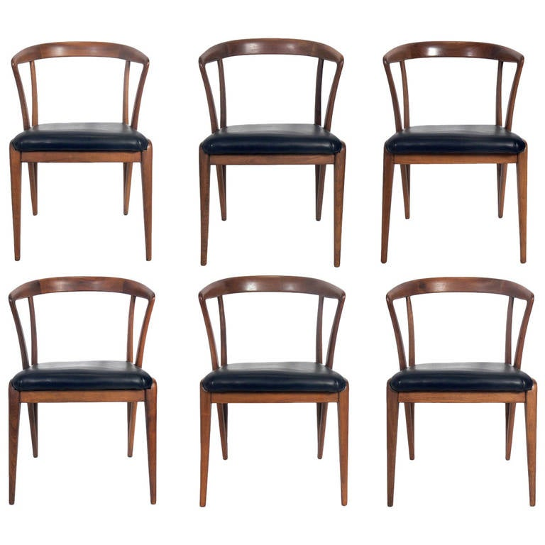 Set of six dining chairs designed by bertha schaefer for for Singer dining room set
