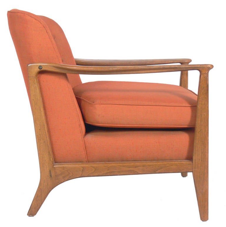 Mid Century Lounge Chair, designed by Edward Wormley for Drexel, circa 1950's. This chair is currently being refinished and reupholstered. It can be finished in your choice of color and upholstered in your fabric. The price noted INCLUDES