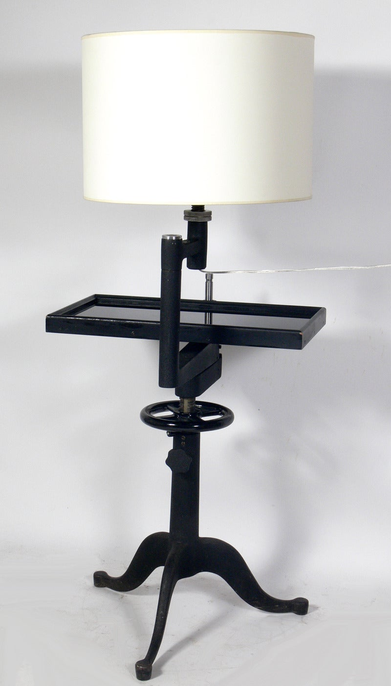 Pair Of Industrial End Tables Or Night Stand Lamps By