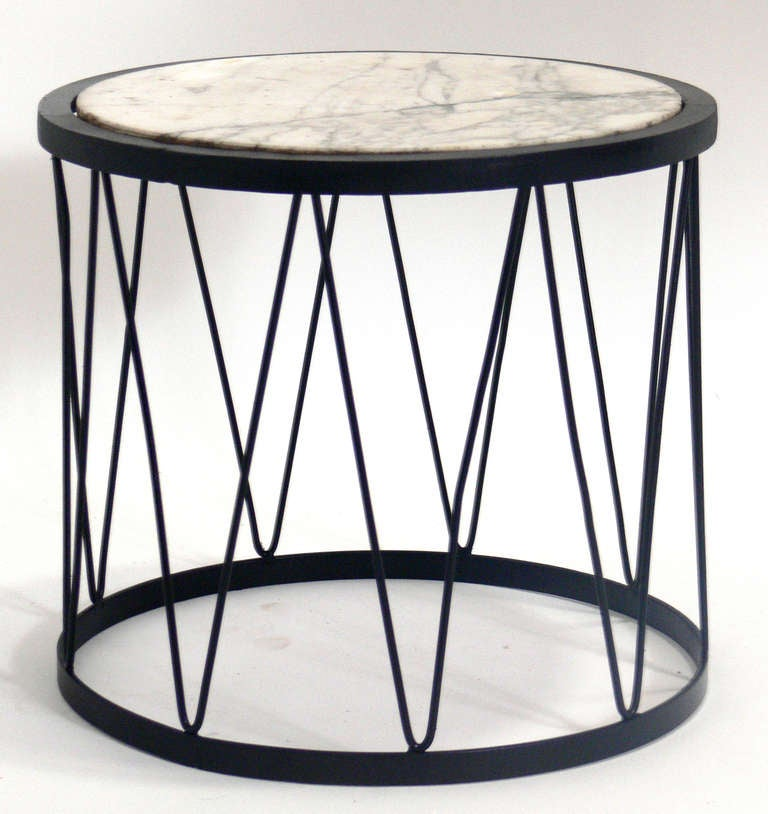 Iron And Marble Drum Table In The Manner Of Jean Royere At