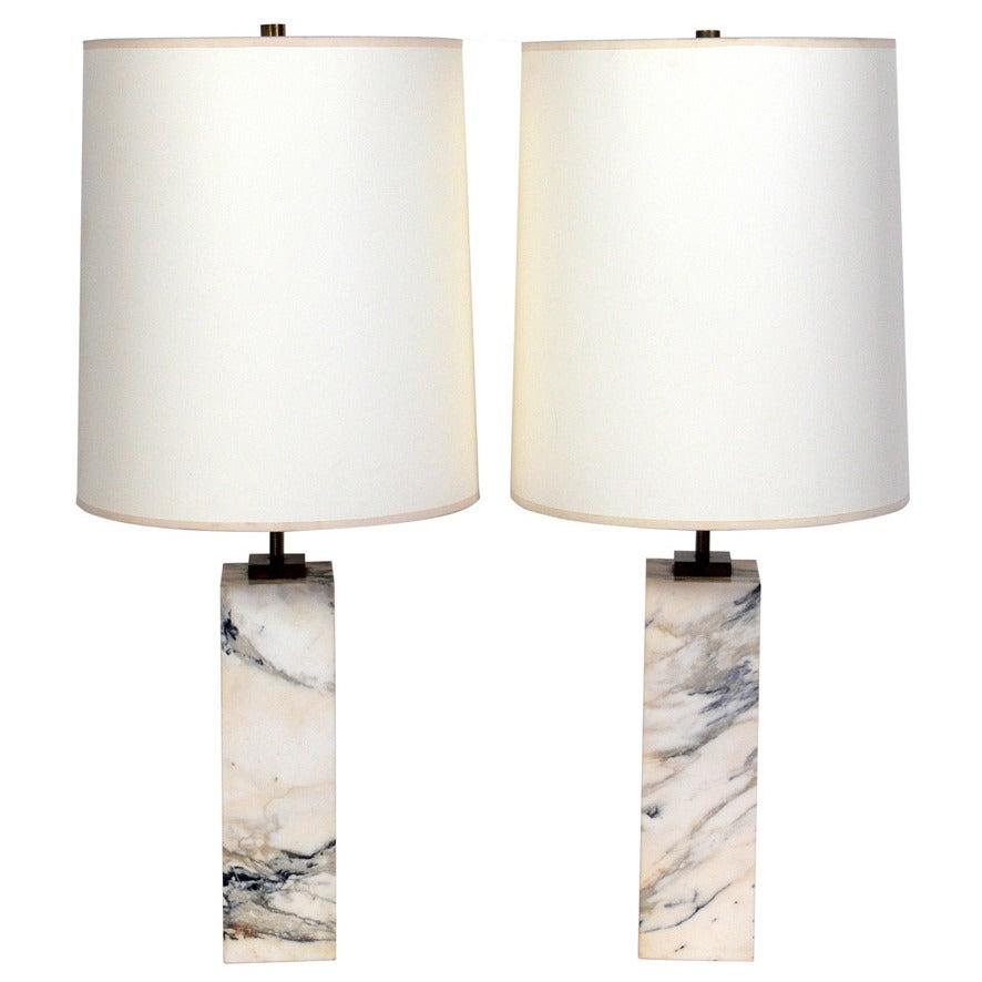 Pair Of Marble Lamps Designed By T.H. Robsjohn Gibbings For Hansen For Sale