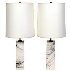 Pair of Marble Lamps designed by T.H. Robsjohn Gibbings for Hansen