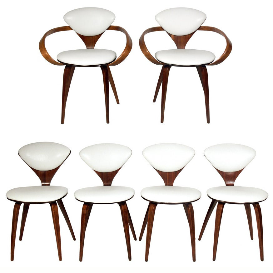 Set of six plycraft dining chairs designed by norman cherner at