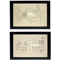 Pair of Abstract Paintings by Eugene Kloszewski