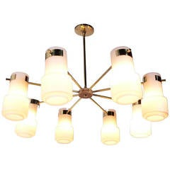 Modernist Brass and White Glass Chandelier