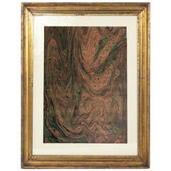 Collection of 19th Century Marbleized Paper in Browns and Greens
