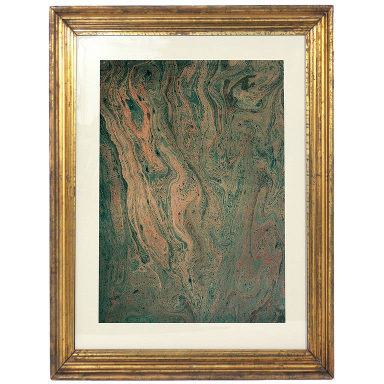 Collection of 19th Century Hand Painted Marbleized Paper in Greens and Brown
