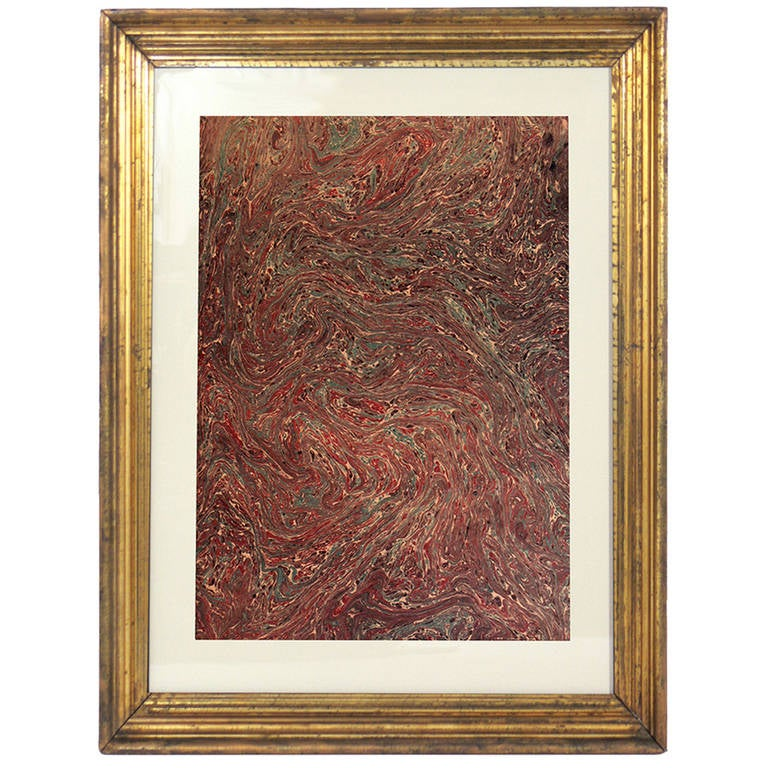 Collection of 19th Century Hand Painted Marbleized Paper in Deep Reds and Greens