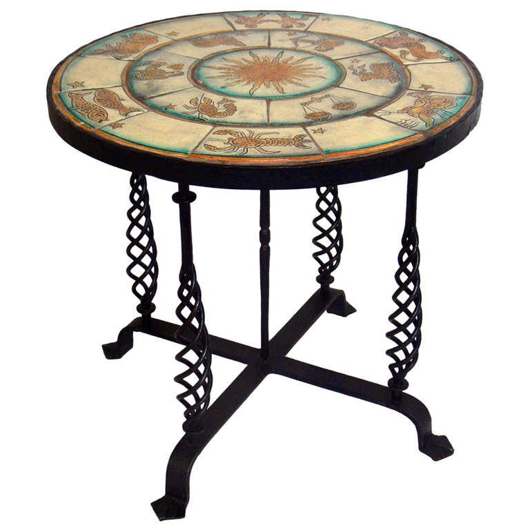 1920 S Zodiac Tile Table With Iron Base At 1stdibs