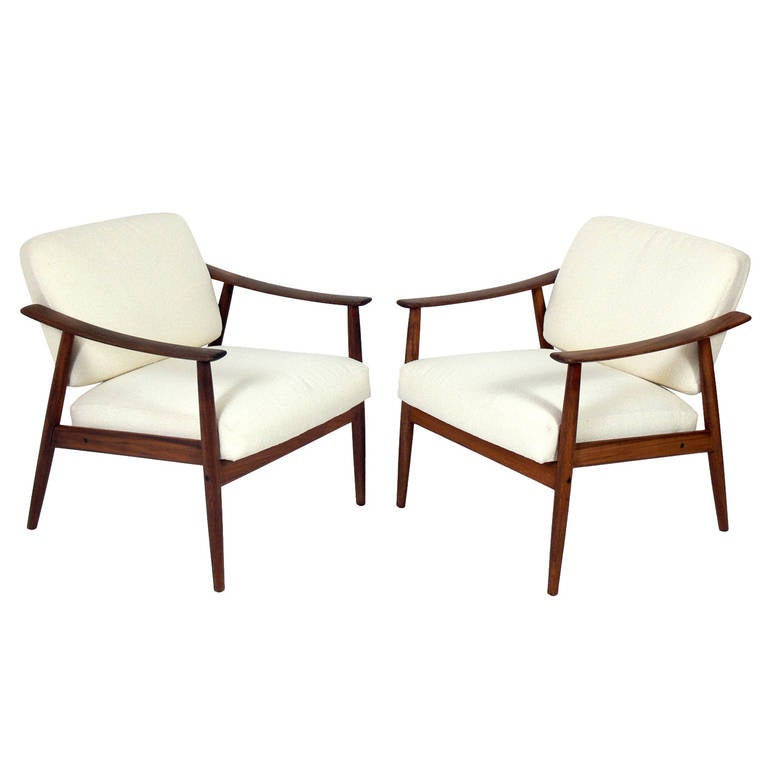 pair of danish modern lounge chairs for sale at 1stdibs