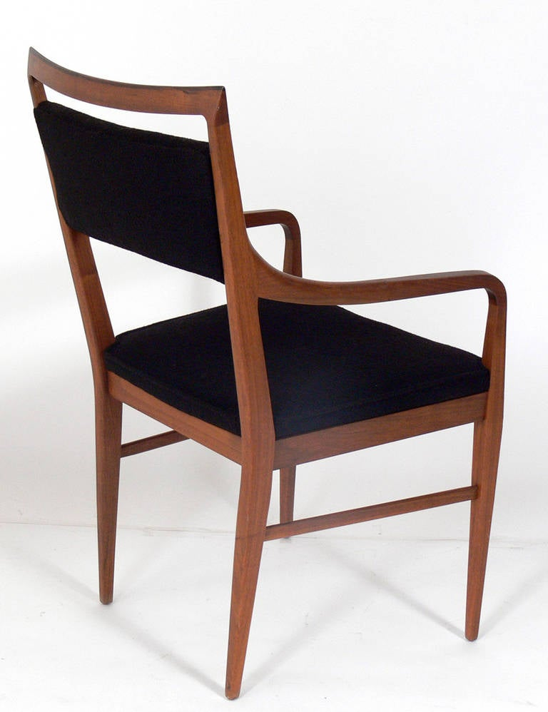 Set of six walnut modern dining chairs in the manner of for Walnut dining chairs modern