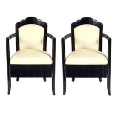 Pair of French Art Deco Armchairs by Pierre Patout for the Ile de France