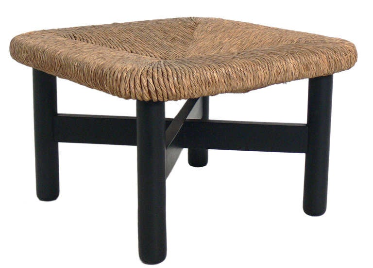 Four Woven Rush Stools or Ottomans in the manner of Charlotte Perriand 2