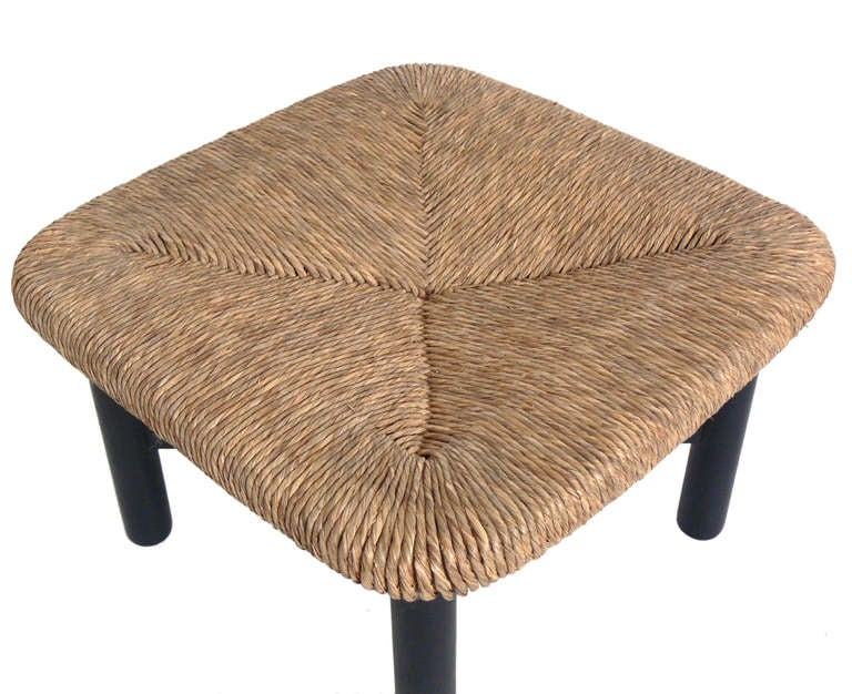 Four Woven Rush Stools Or Ottomans In The Manner Of