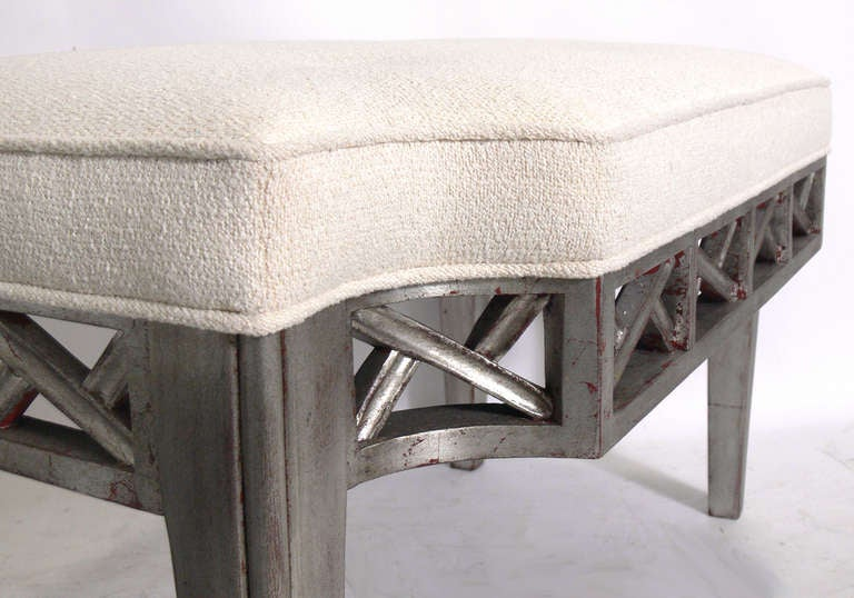Silver Leaf Bench in the manner of James Mont In Excellent Condition For Sale In Atlanta, GA