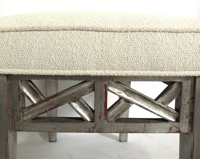 Mid-20th Century Silver Leaf Bench in the manner of James Mont For Sale