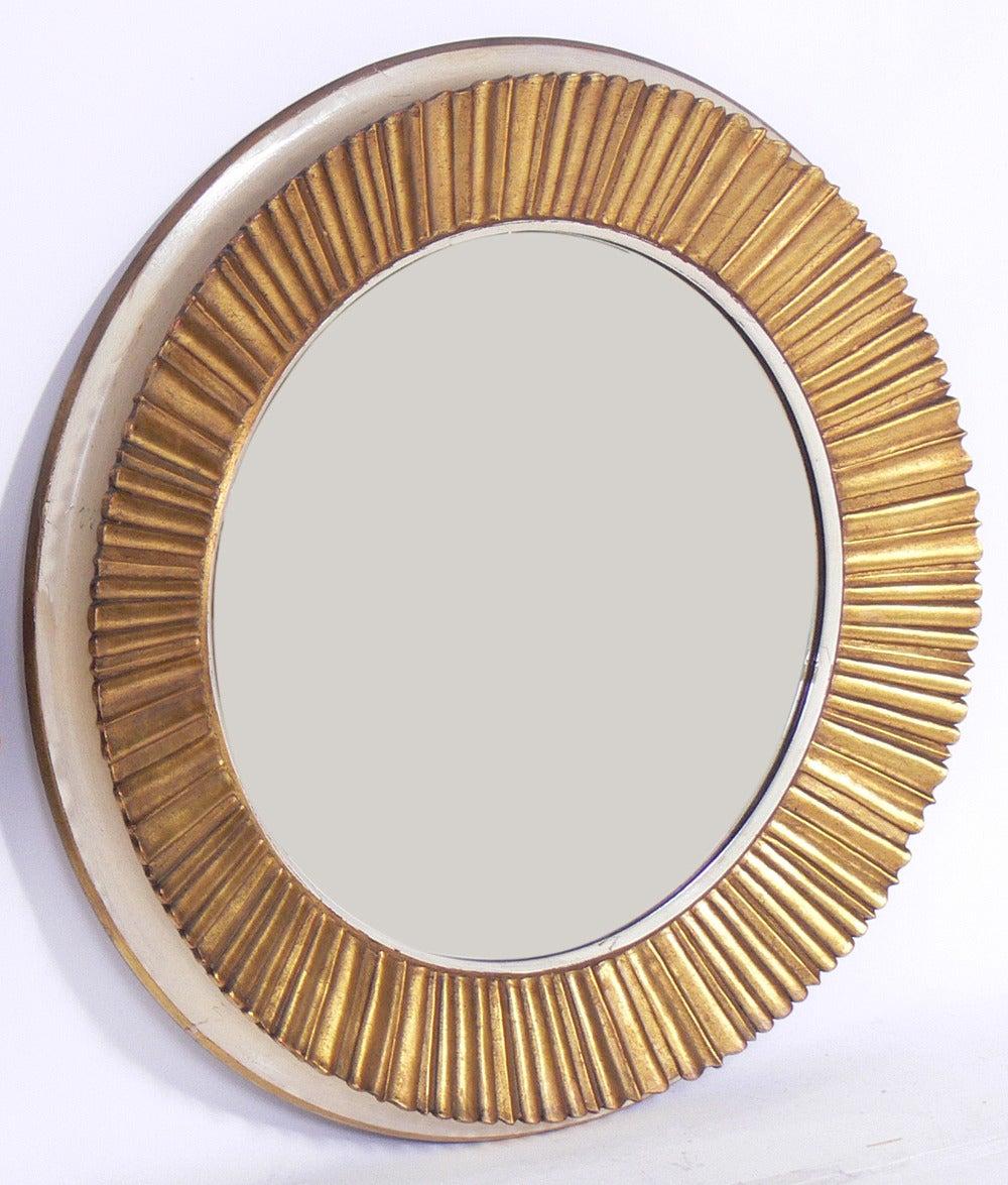 French Pair of Elegant 1940's Gilt Sunburst Mirrors For Sale