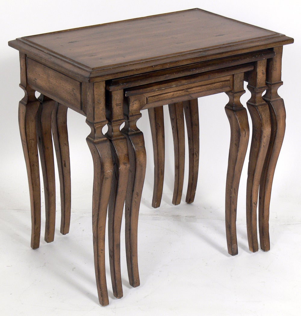 Set of nesting tables with curvaceous legs for sale at 1stdibs