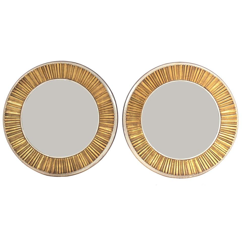 Pair of Elegant 1940's Gilt Sunburst Mirrors For Sale