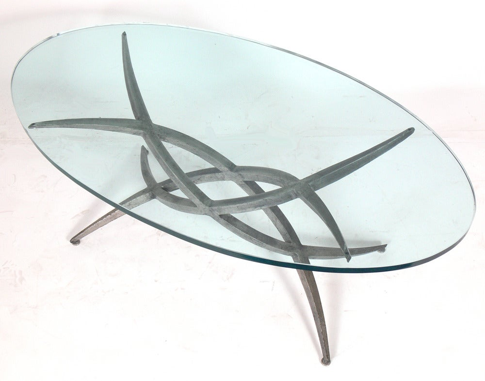 Sculptural metal coffee table base in the manner of silas Metal table base
