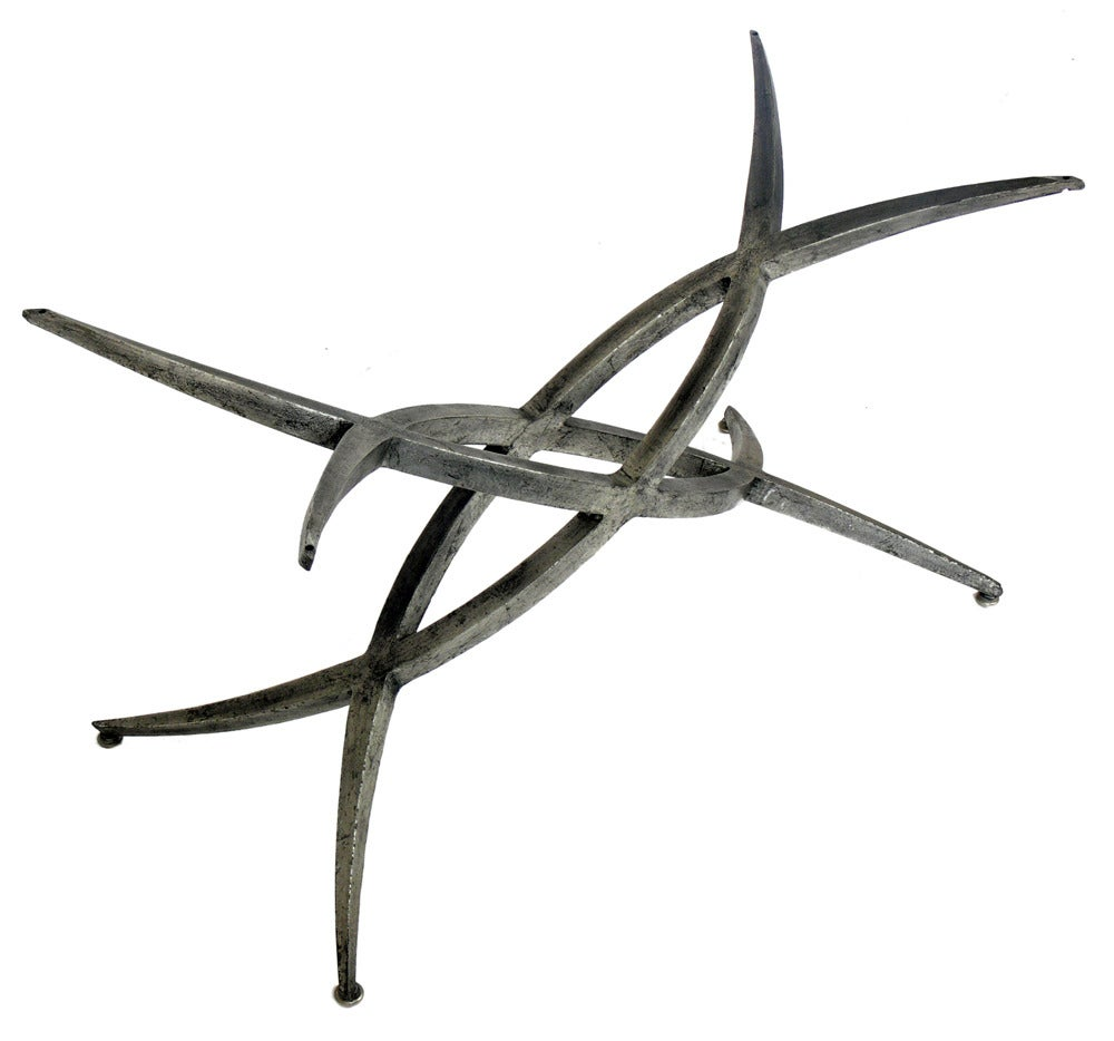 Sculptural Metal Coffee Table Base In The Manner Of Silas Seandel At 1stdibs