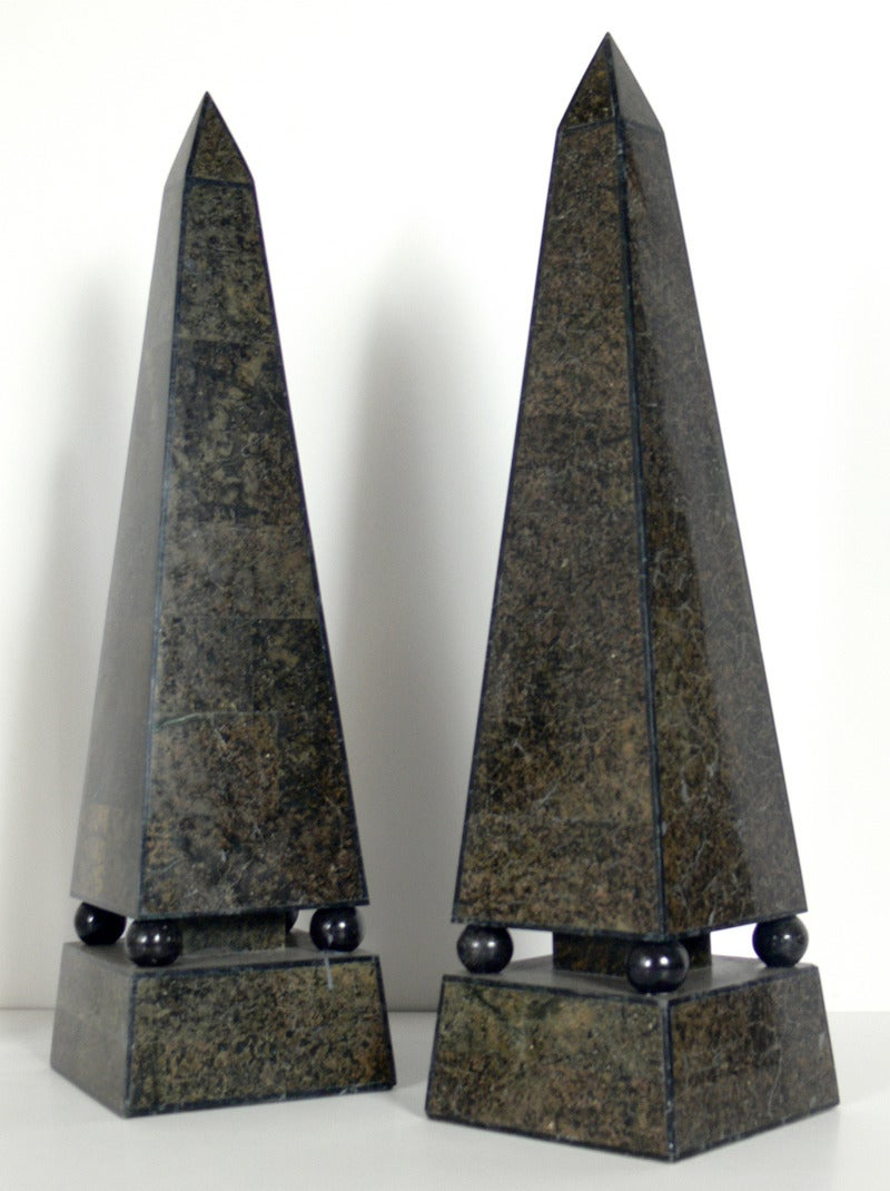 """Group of Obelisks.  From left to right, they are:  1) 19th century marble obelisk measures 26""""h x 6.25"""" x 6.25"""", and has been SOLD.  2) Crystal obelisk with lapis lazuli base, circa 1960's,  measures 19""""h x 5.5"""" diameter.  3) Group of three"""