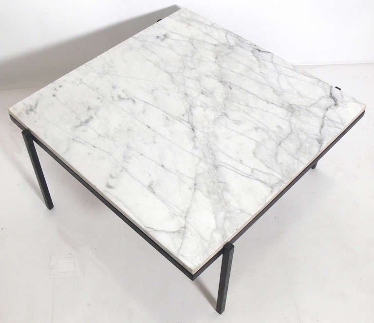 Marble Coffee Table Cleaner: Clean Lined Modernist Marble And Iron Coffee Table For